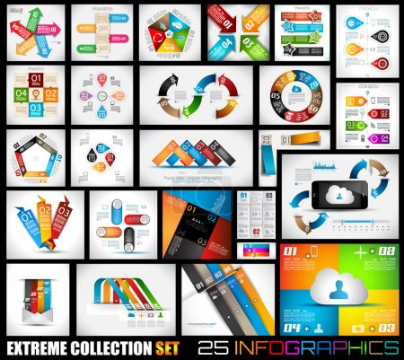 Illustration for Extreme Collection of 25 quality Infographics background. A lot of different templates ready to display your data. - Royalty Free Image