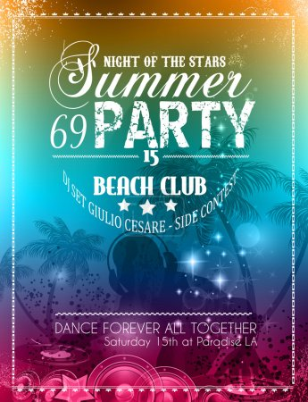Illustration for Beach Party Flyer for your latin music event or poster - Royalty Free Image