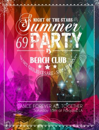 Illustration pour Flyer Beach Party pour votre événement musical ou affiche latine - image libre de droit