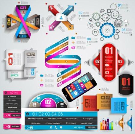 Illustration pour Mega Collection d'objets d'infographie de qualité. Beaucoup de modèles différents prêts à afficher vos données . - image libre de droit