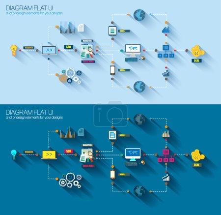 Illustration pour Diagramme de style plat, infographie et icônes d'interface utilisateur à utiliser pour votre projet d'entreprise, promotion du marketing, publicité mobile, recherche et analyse . - image libre de droit