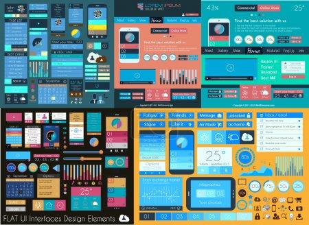 Illustration pour Flat UI Mega Collection : Icônes, formulaires Web, en-têtes, pieds de page, smartphones, ordinateurs, tablettes, modèles Web, entreprises, infographies et ainsi de suite . - image libre de droit