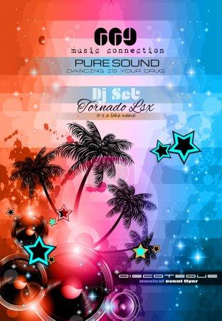 Illustration pour Musique de fond sur le thème à utiliser pour les flyers de discothèque avec beaucoup d'éléments de conception abstraite, couleurs à contraste élevé et de l'espace pour le texte - image libre de droit