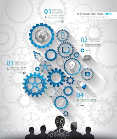 Illustration pour Médias et nuage concept infographie milieu social avec beaucoup d'icônes pour le référencement, bannières publicitaires, les matériaux d'enveloppe ou brochures marque - image libre de droit