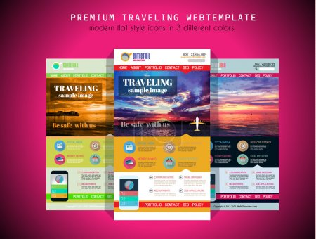 TRAVEL website flat UI design template