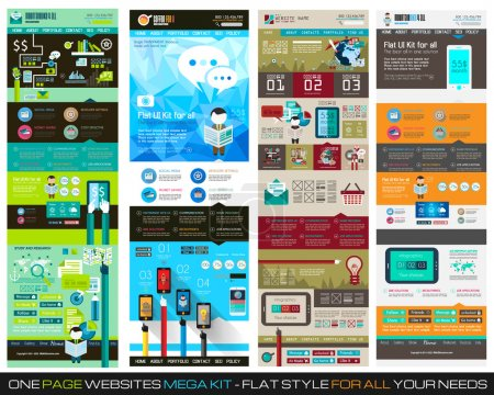Photo for One page website flat UI design template SET 1. It include a lot of flat stlyle icons, forms, header, footeer, menu, banner and spaces for pictures and icons all in one page. - Royalty Free Image