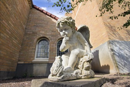 Cherub with Frog Cast Stone Garden Statuary