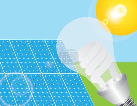 Illustration pour Panneaux solaires avec ampoule à économie d'énergie alimentée par le soleil Illustration - image libre de droit