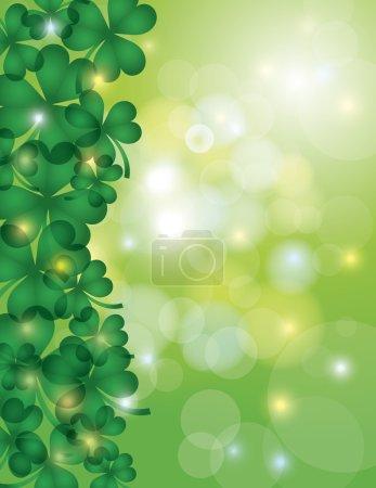 Illustration pour Jour de St Patricks Shamrock quitte la frontière avec scintillement et Bokeh Illustration de fond - image libre de droit