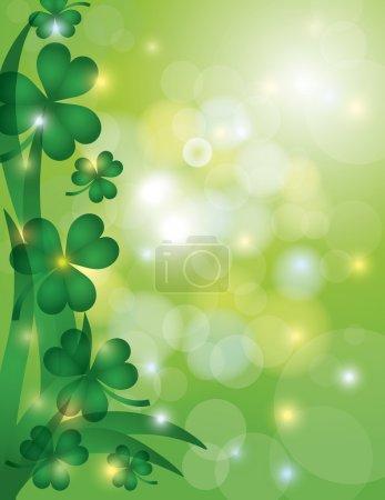 les feuilles de trèfle avec bokeh fond illustration