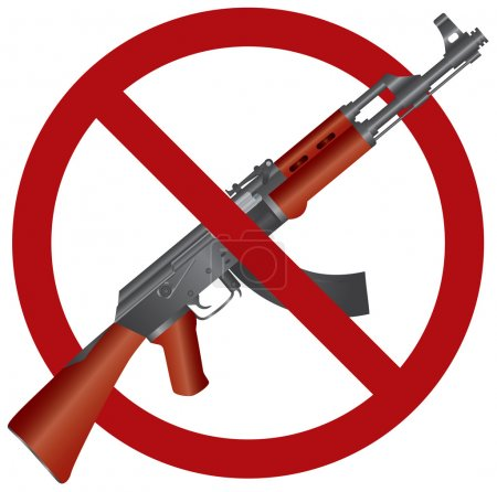 Assault Rifle AK 47 Gun Ban Illustration