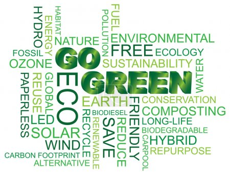 Illustration for Go Green Eco Word Cloud Illustration Isolated on White Background - Royalty Free Image