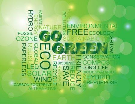 Illustration pour Aller illustration de nuage de mot eco vert isolé sur fond vert bokeh - image libre de droit