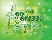 Go Green Word Cloud Green Background