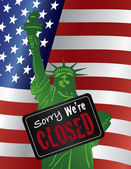 Government Shutdown Statue of Liberty Closed Sign Illustration