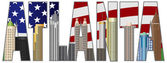 Atlanta Georgia City Skyline Text Outline with USA Flag Background Silhouette Color Illustration