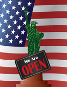 Government Shutdown Open Sign Statue of Liberty Illustration