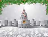 Washington DC Capitol Christmas Scene Illustration