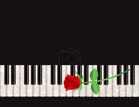 Piano Background with Red Rose Illustration