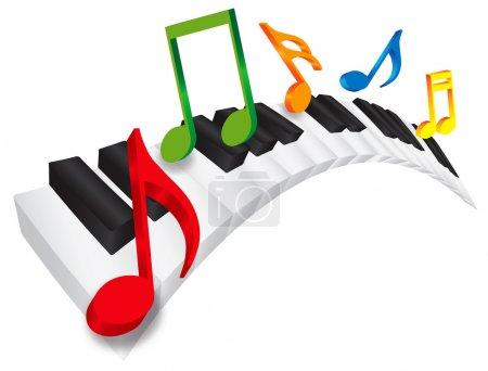 Illustration pour Clavier de piano avec touches ondulés noir et blancs et des notes de musique colorées en 3d isolé sur fond blanc illustration - image libre de droit