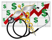 Stethoscope Caduceus with Health Cost Rising Chart