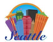 """Постер, картина, фотообои """"Абстрактный Сиэтл skyline в круг иллюстрации"""""""