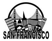 """Постер, картина, фотообои """"Сан-Франциско skyline Золотые ворота мост черно-белая illustr"""""""