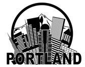 """Постер, картина, фотообои """"Портленд Орегон skyline mt капюшоном черно-белые иллюстрации"""""""
