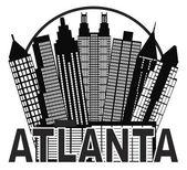 """Постер, картина, фотообои """"Atlanta skyline круг черно-белые иллюстрации"""""""