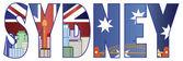Sydney Text Outline with Skyline Color Illustration