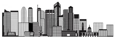 Singapore City Skyline Black and White Illustration