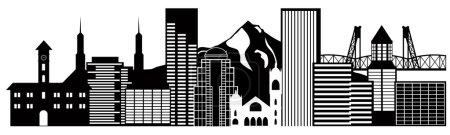 Portland Oregon Skyline Black and White Illustration