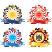 Award ribbon rosettes. National flag colors.(vector, CMYK)
