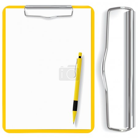 Illustration for Vector high detailed clipboard, paper sheet and pen(CMYK) - Royalty Free Image