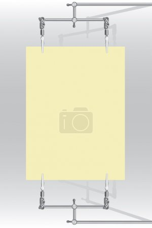 Paper sheet is holded with metal alligator-clips(vector,CMYK)