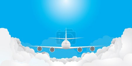 Plane is flying in blue sky with clouds(vector, CMYK)
