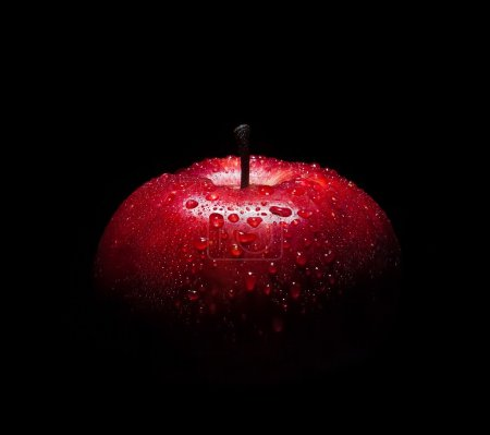 Photo for Fresh red apple with droplets of water against black background with space for text - Royalty Free Image