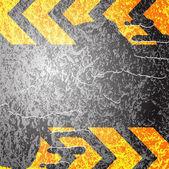 Fingerprints on the asphalt yellow lines vector background