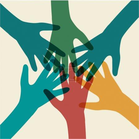 Illustration pour Symbole d'équipe. Mains multicolores - image libre de droit