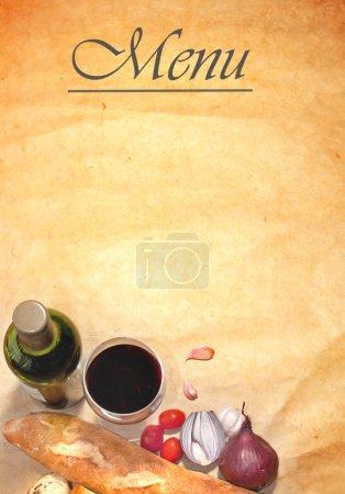 Photo pour Cadre de fond du menu avec les ingrédients de base y compris pain, oignons et vin rouge - image libre de droit