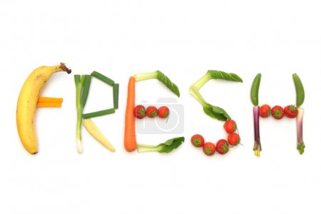 Photo for The word fresh written using fruits and vegetables - Royalty Free Image