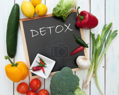 Photo for Detox handwritten on a chalkboard surrounded by fresh vegetables - Royalty Free Image