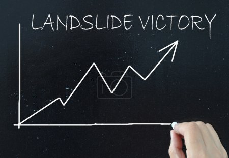 Photo for Landslide victory handwritten on a chalk board with a line graph pointing upwards - Royalty Free Image