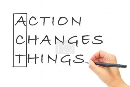 Photo for Action changes things spelling the word act - Royalty Free Image