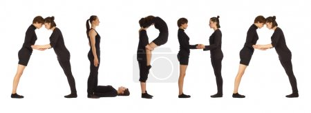 Black dressed people forming ALPHA word over white