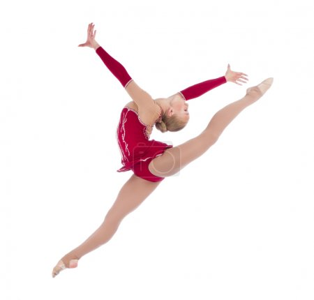 Beautiful girl gymnastlc leg up