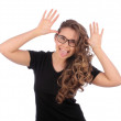 Young beautiful teenager girl Gesture and Activity...