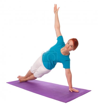 Photo for Yong woman exercise yoga pose on mat, isolated on white background - Royalty Free Image