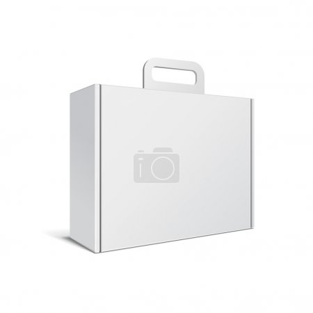 Carton Or Plastic White Blank Package Box With Handle. Briefcase, Case, Folder, Portfolio Case. Illustration Isolated On White Background. Ready For Your Design. Product Packing Vector