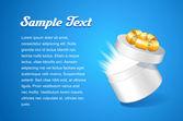 Šablona návrhu technologie Pohlednice s otevřené bílé kulaté krabičky s lukem zlatá stuha, na modrém pozadí